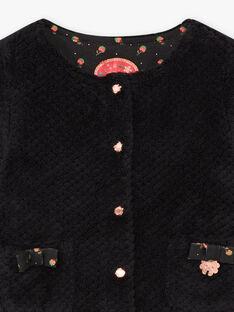 Cardigan noir en fausse fourrure bébé fille BAMELANIE / 21H1BFM2CAR090