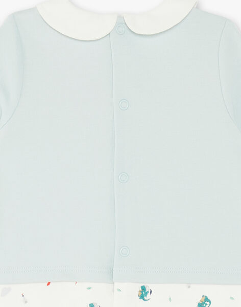 Grenouillère interlock bleue et écrue  ZEBRAN / 21E5BG15GRE020