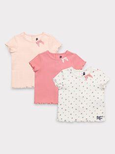 Lot de trois t-shirt manches courtes bébé fille  TIREGINA / 20E1BF91LDT001