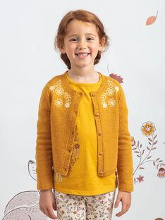 Gilet moutarde broderies fleuries enfant fille BUCARETTE / 21H2PFJ1CAR804