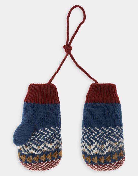 Moufles bleu à motif jacquard garçon SEMANAGE / 19H4PGI1GAN717