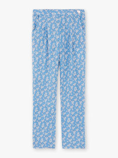 Pantalon bleu imprimé fleuri enfant fille ZUPATETTE1 / 21E2PFT1PANC208