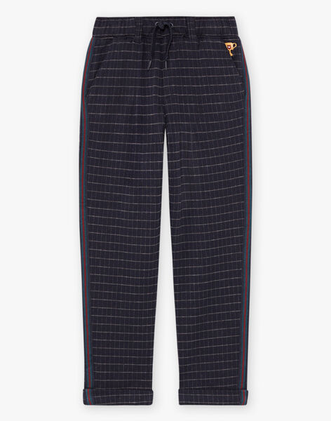 Pantalon à carreaux bleu enfant garçon BETAGE / 21H3PG92PAN715