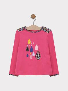 Tee-shirt rose détail fleuri fille SIVOUETTE / 19H2PF42TML305