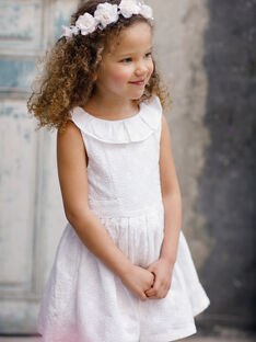 Robe écrue brodée enfant fille TYROETTE / 20E2PFJ4ROB000