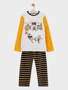 Pyjama en velours haut moutarde et gris chiné bas rayé animation multitechniques petit garçon SEFOOTAGE / 19H5PGK3PYJ943
