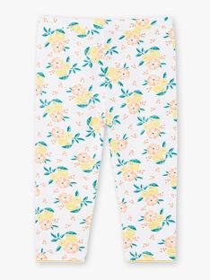 Legging blanc imprimés citrons et fleurs enfant fille ZILOETTE / 21E4PFO1CO2000