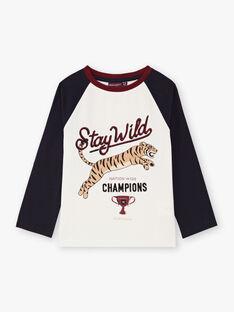 T-shirt manches longues écru imprimé tigre enfant garçon BETINAGE / 21H3PG92TML001