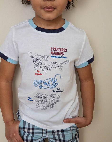T-shirt blanc imprimé fantaisie enfant garçon ZINUAGE / 21E3PGT2TMC000
