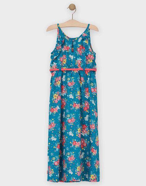 Robe longue à bretelles bleue imprimé fleuri enfant fille TEUMETTE / 20E2PFX1RBS210