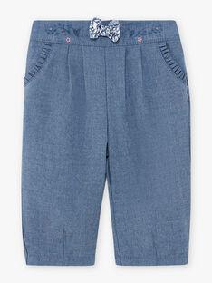 Pantalon en flanelle bleu chiné bébé fille BAKILANE / 21H1BFL1PAN222