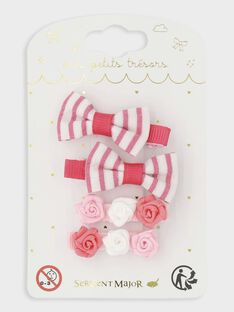 Lot de 4 barrettes petits nœuds et roses petite fille TYROMETTE / 20E4PFKDBRT321