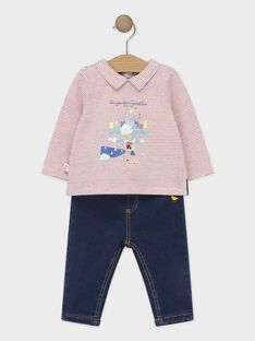 Ensemble bébé garçon : polo à rayures et pantalon en maille effet denim  TACLEM / 20E1BGC1ENS050
