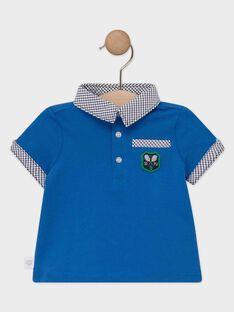 Polo bébé garçon bleu avec apport de carreaux au col et en bas de manche  TALEWIS / 20E1BGH1POLC201