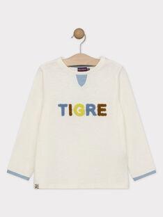 Tee-shirt manches longues écru imprimé bouclette garçon SABUAGE / 19H3PG61TML001