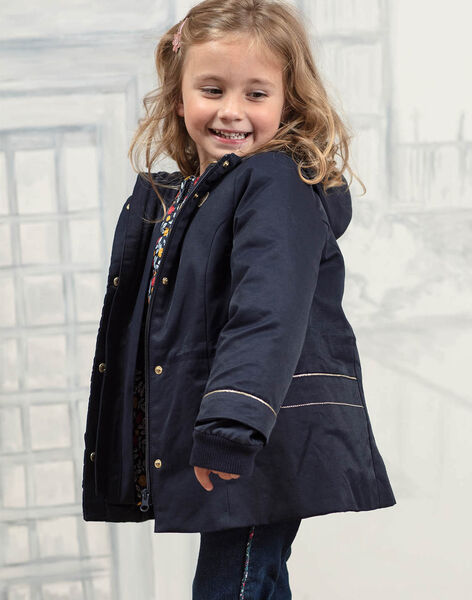 Parka 3-en-1 bleu marine enfant fille BLOPRETTE / 21H2PFC2IMP070