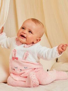 Grenouillère bicolore en fausse fourrure motif lapin bébé fille BEJEANNE / 21H5BF71SPY309
