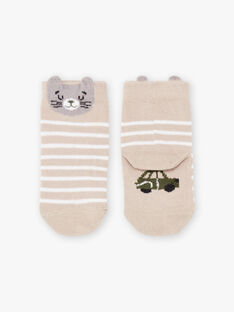 Chaussettes beige chiné motif chat bébé garçon BADAOUH / 21H4BG21SOQA013