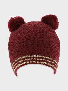 Bonnet bordeaux tricot fantaisie fille SINOVETTE / 19H4PF61BON503