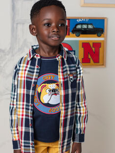 Chemise bleu marine à carreaux enfant garçon BECHOAGE / 21H3PG51CHM070