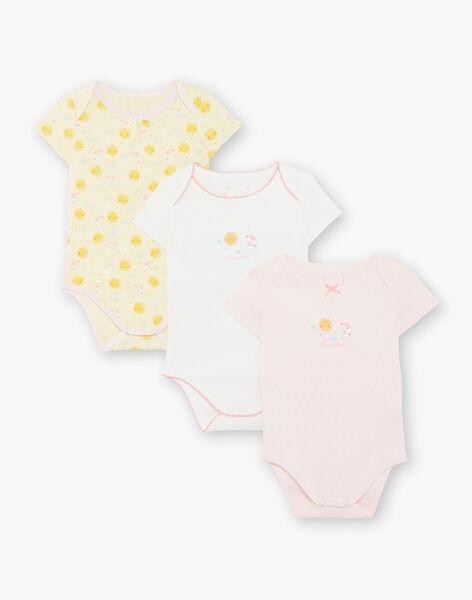 Lot de 3 bodies manches courtes bébé fille en coton bio ZEJENNA / 21E5BF31BDLB104