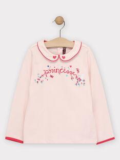 T-Shirt manches longues rose pâle fille. TEKUETTE / 20E2PFC1TML301