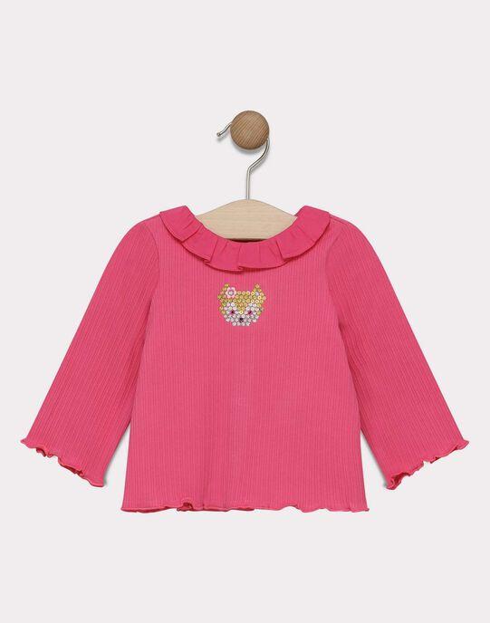 T-shirt rose avec col volanté bébé fille SAEMELINE / 19H1BF41BRA305