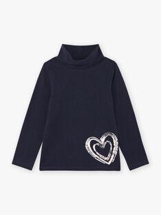 Sous-pull bleu marine motif cœur à sequins réversibles enfant fille BROSOPETTE2 / 21H2PFF1SPL070