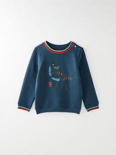 Sweat shirt bleu pétrole animation dino  VUDINOAGE / 20H3PGS1SWE215