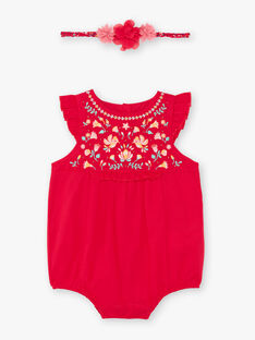 Barboteuse rose framboise brodée et bandeau bébé fille TASONIA / 20E1BFQ1BARF510