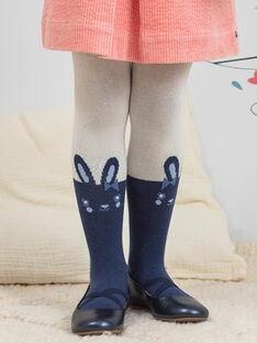 Collant écru et bleu marine à motif lapin enfant fille BYCOLIETTE / 21H4PFL1COL001
