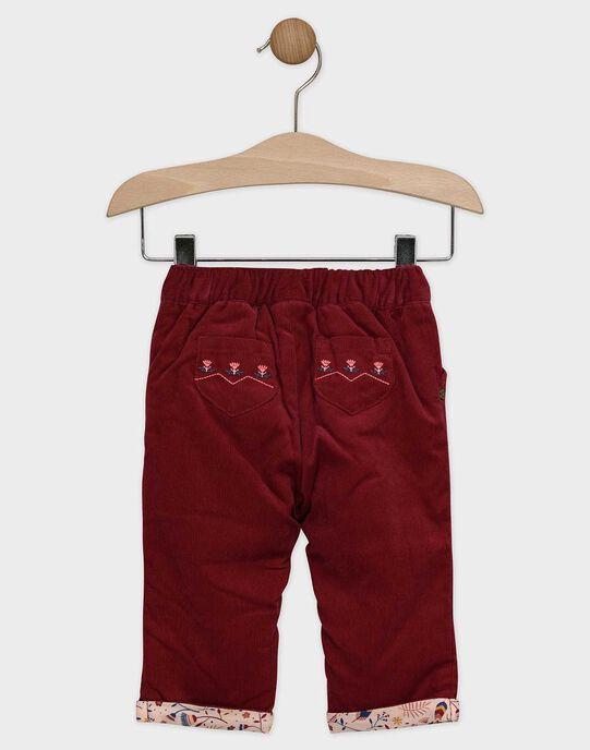 Pantalon prune en velours côtelé bébé fille  SAPETUNIA / 19H1BFI1PANF511