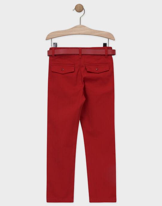 Pantalon rouge en twill toucher doux garçon SIREGULAGE / 19H3PGP2PAN719
