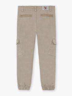 Pantalon taupe multi-poches enfant garçon BANAGE / 21H3PG22PAN631