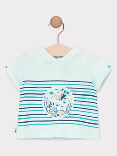 Tee-shirt bébé garçon bleu clair à rayures imprimées  TAERNEST / 20E1BGD1TMC213