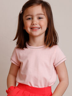 T-shirt rose clair manches courtes et col rond enfant fille ZLINETTE 1 / 21E2PFK1TMC413