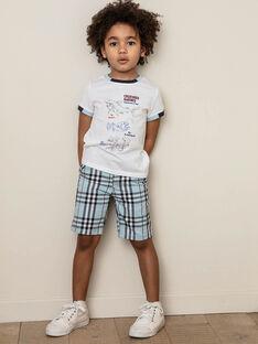 Bermuda bleu ciel à carreaux enfant garçon ZIONAGE / 21E3PGT3BER213