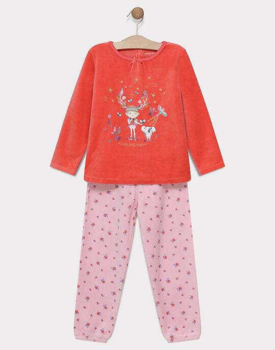 Pyjama en velours uni et bas impression fleurs petite fille SYLOUETTE / 19H5PF55PYJ402