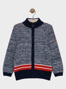 Gilet bleu nuit en tricot garçon SERAYAGE / 19H3PGE2GILC244