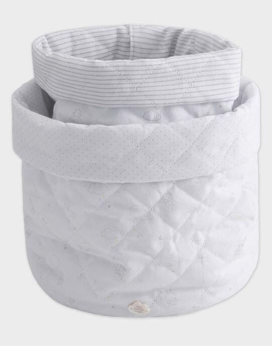 Lot de 2 paniers de rangement blanc et gris imprimé bébé mixte TYOUPI / 20EZNAF1PAL000