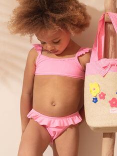 Maillot de bain 2 pièces rose fluo à carreaux enfant fille ZAIDUETTE / 21E4PFR2D4LD311