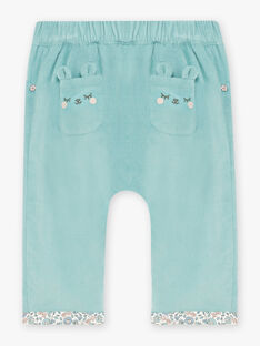 Pantalon bleu détails imprimés fleuris bébé fille BAONIE / 21H1BFO1PAN629