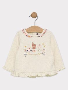 Tee shirt écru avec lurex bébé fille  SAPATRICIA / 19H1BFI1TML003