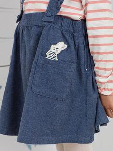 Jupe bleu chiné à bretelles volantées enfant fille BYJUPETTE / 21H2PFL1JUP222