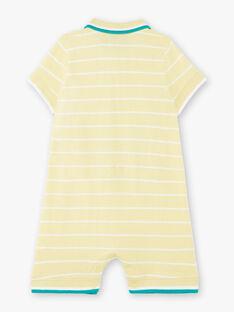 Combinaison courte jaune brodée à rayures bébé garçon ZAMATHEO / 21E1BGO1CBLB104