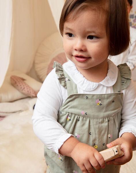 Salopette vert kaki imprimé fleuri bébé fille BACHARLENE / 21H1BF21SAL604