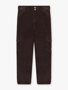 Pantalon multi-poches noir en velours enfant garçon BOROAGE / 21H3PGO2PAN814