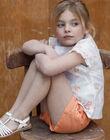 Short orange à ceinture en serge de coton enfant fille ZIJOETTE / 21E2PFO1SHO406