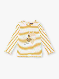 T-shirt manches longues blanc rayé jaune avec imprimé abeille ZERUCHETTE / 21E2PF91TML001
