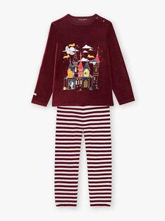 Pyjama en velours bordeaux petit enfant garçon VINTAGE / 20H5PG25PYJ503